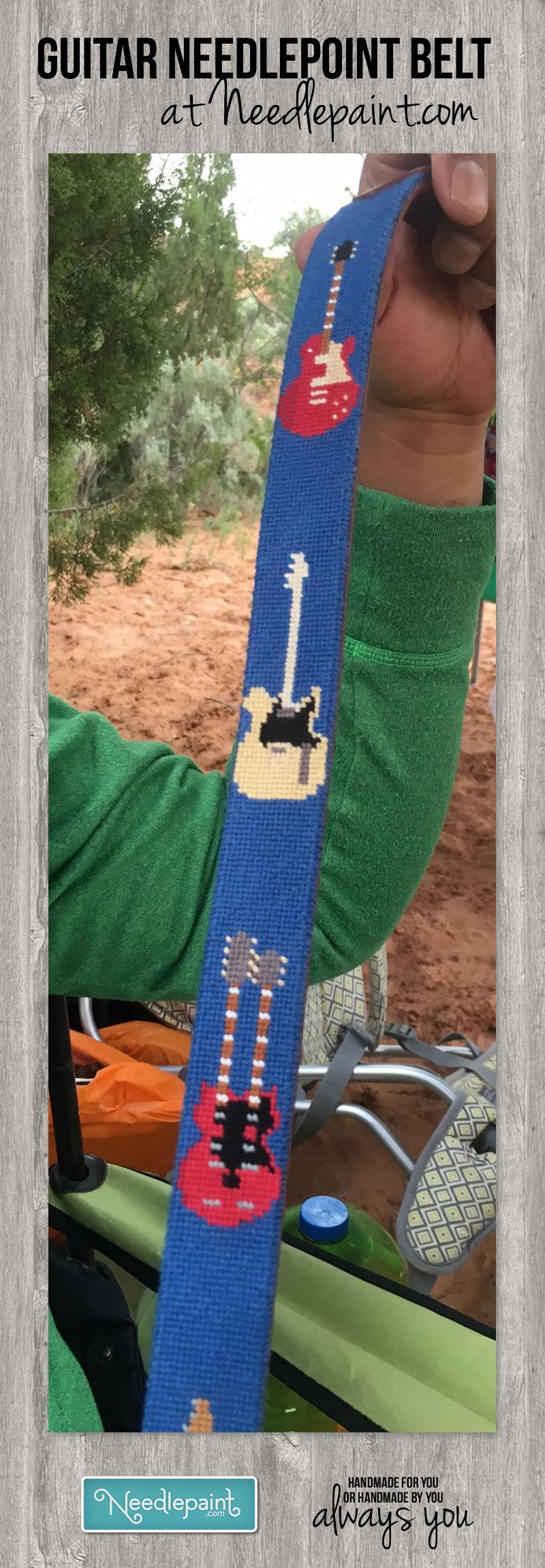 Guitar Needlepoint Belt