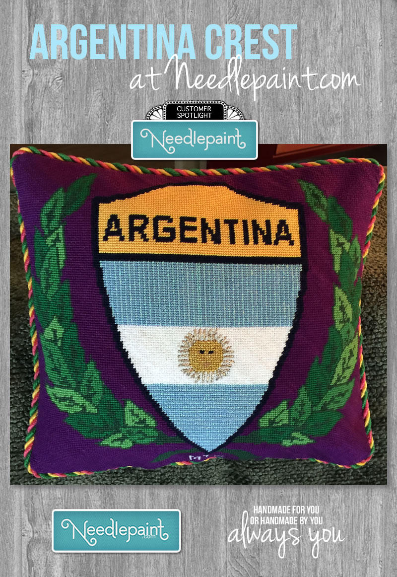 Argentina Crest Pillow Custom Needlepoint Kit