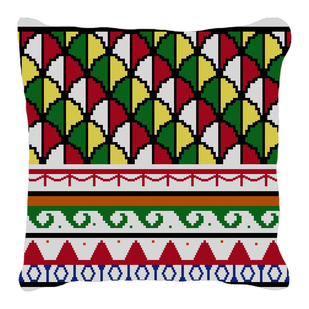Polychrome Mosaic Needlepoint Pillow