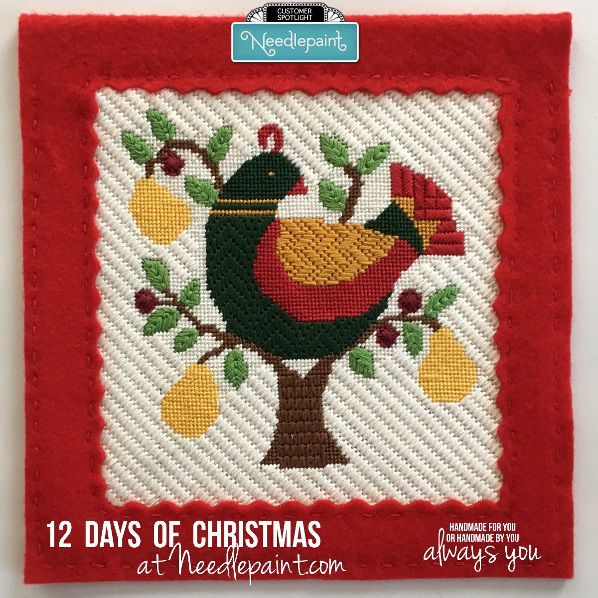 Partridge in Pear Tree Christmas Needlepoint
