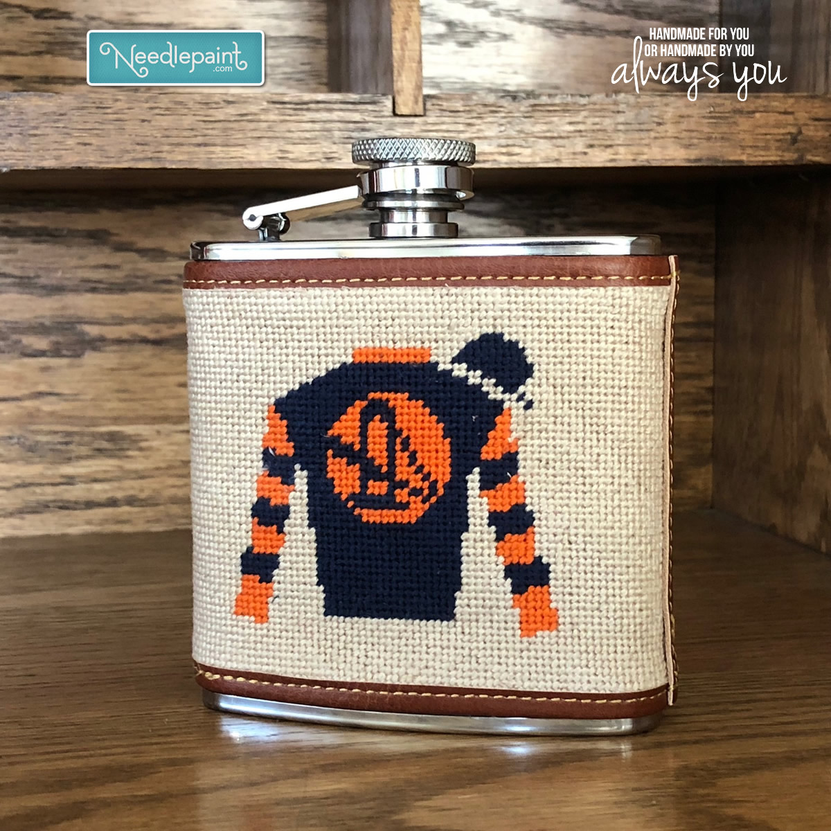 Needlepoint Flask Finishing