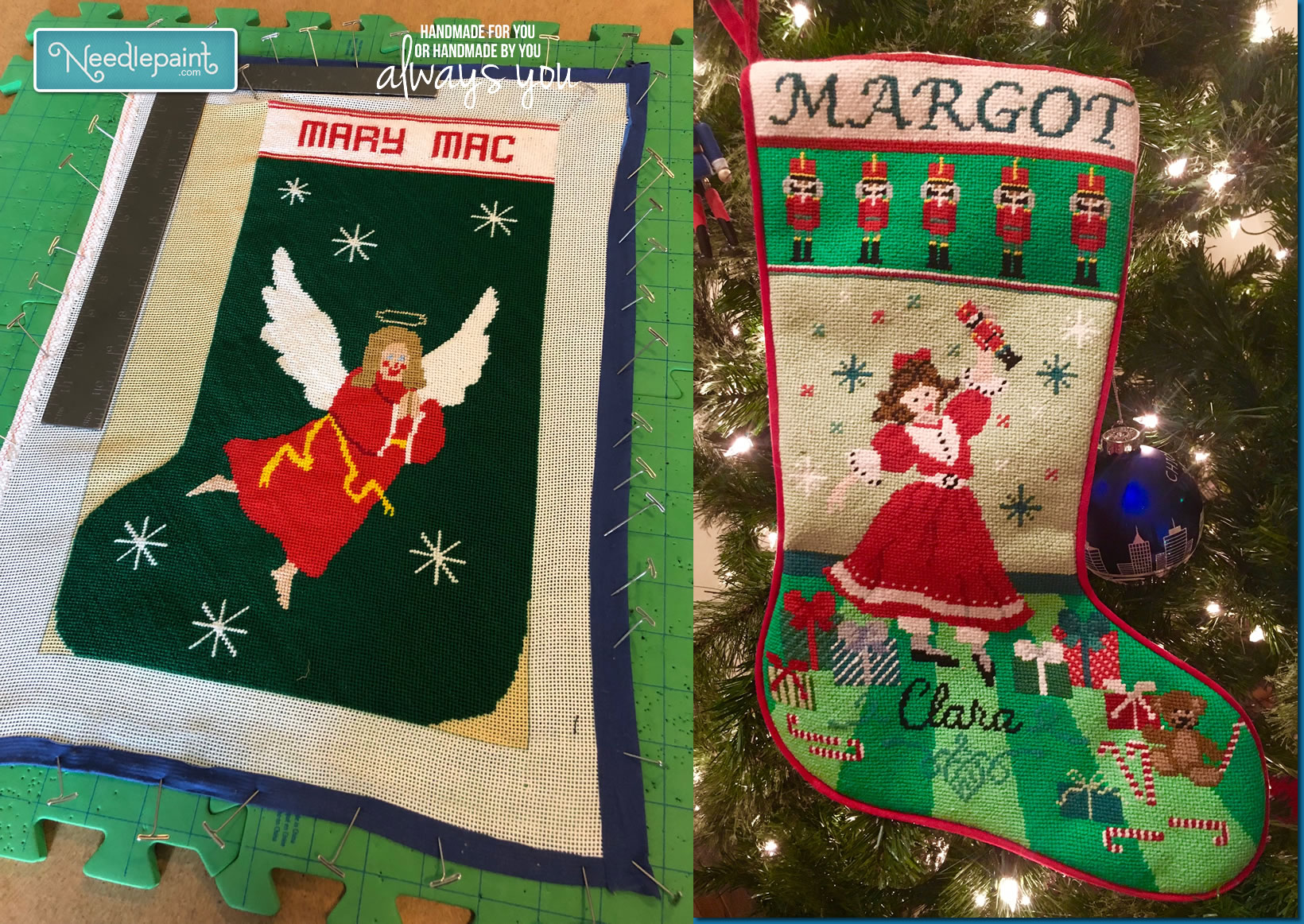 Christmas stockings needlepoint kits and canvas designs needlepoint stocking blocking and finishing solutioingenieria Images