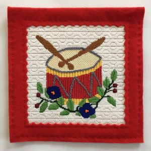 Twelve Drummers Drumming Christmas Needlepoint