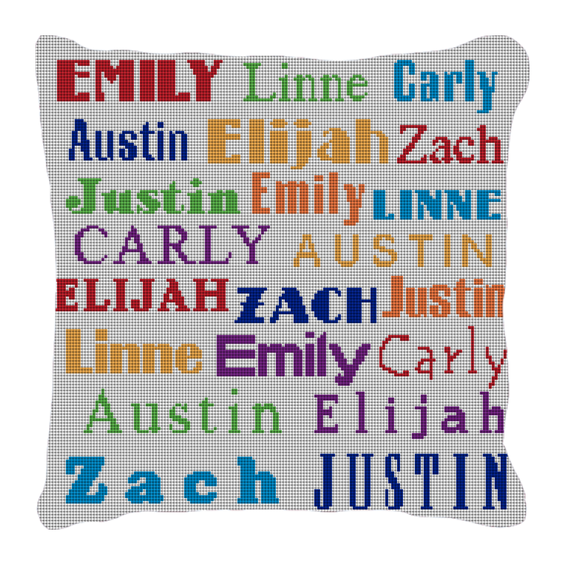 Image of Grandkids' Names Needlepoint Pillow