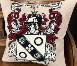 NeedlePaint family crest pillow