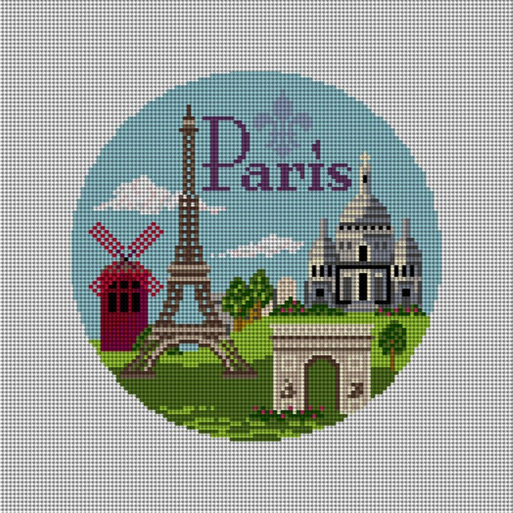 Paris Travel Destination Needlepoint Ornament