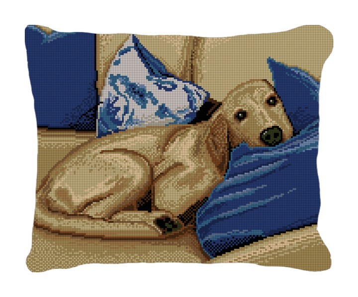 Sleepy Pup Needlepoint Pillow Canvas