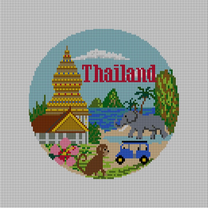 Thailand Travel Destination Needlepoint Ornament
