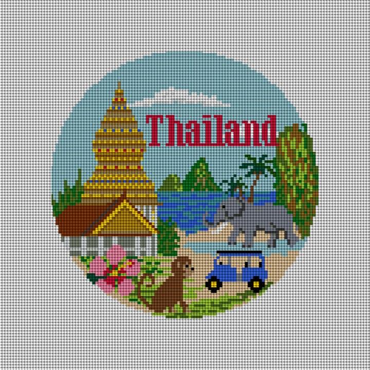 Thailand Travel Destination Needlepoint Ornament