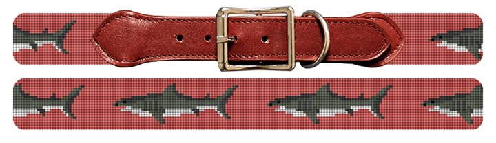 Great White Shark Needlepoint Dog Collar Canvas