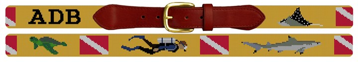 Personalized Scuba Diving Needlepoint Belt Canvas
