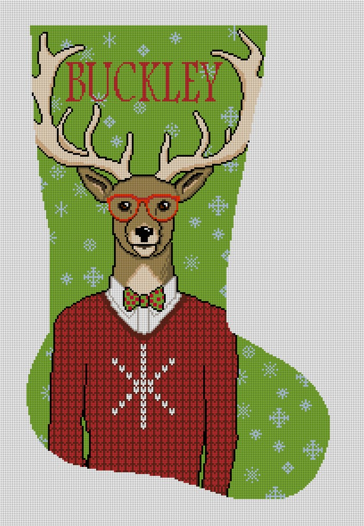 Gentleman Buck Needlepoint Stocking Canvas