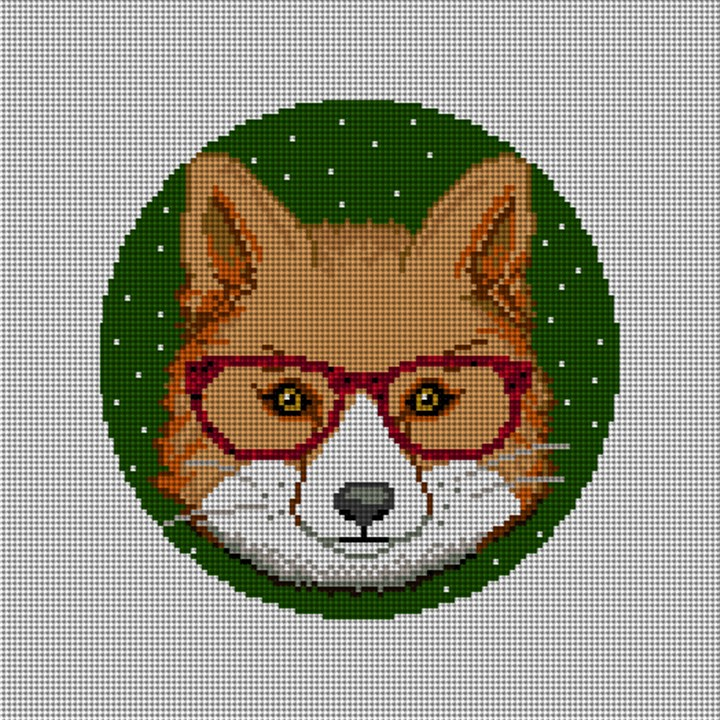 Gentleman Fox Needlepoint Ornament Canvas