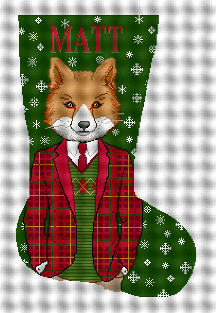 Gentleman Fox Needlepoint Stocking Canvas