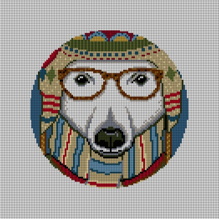 Gentleman Polar Bear Needlepoint Ornament Canvas