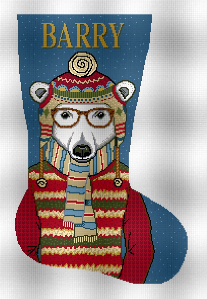 Gentleman Polar Bear Needlepoint Stocking Canvas
