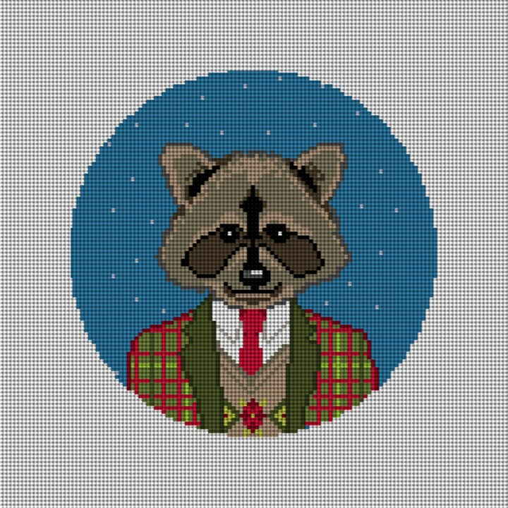 Gentleman Raccoon Needlepoint Ornament Canvas