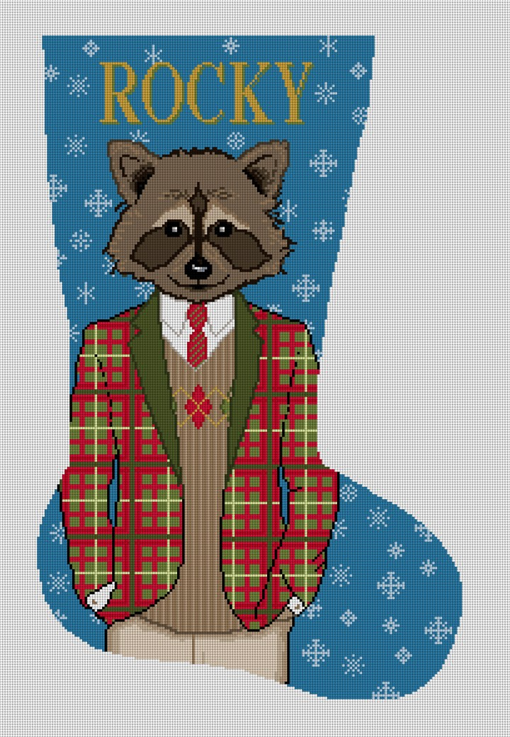 Gentleman Raccoon Needlepoint Stocking Canvas