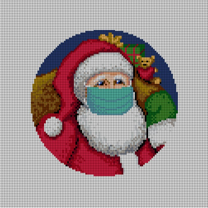 Santa's X Mask Needlepoint Ornament Canvas