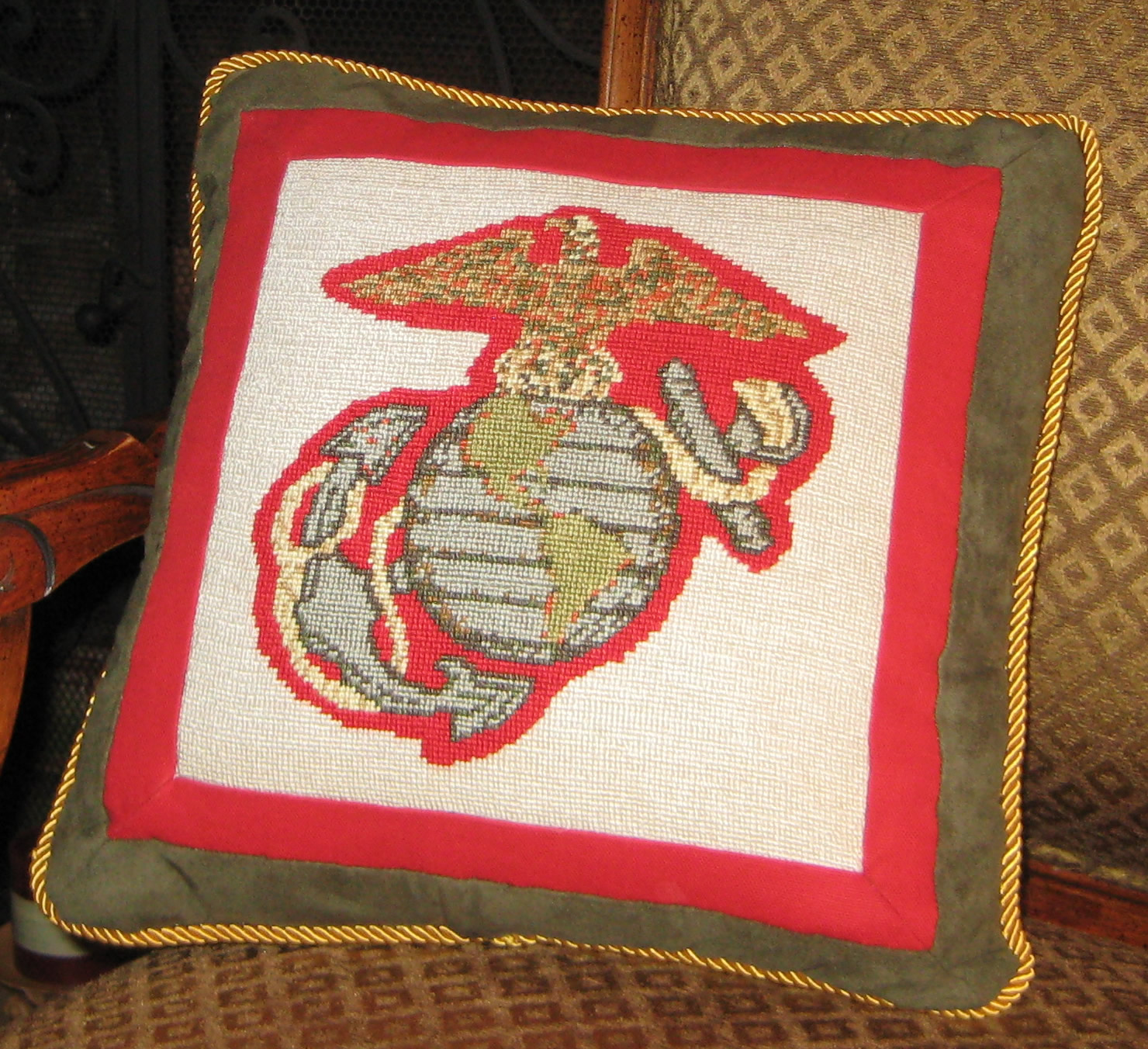 Marine Crest Needlepoint Pillow