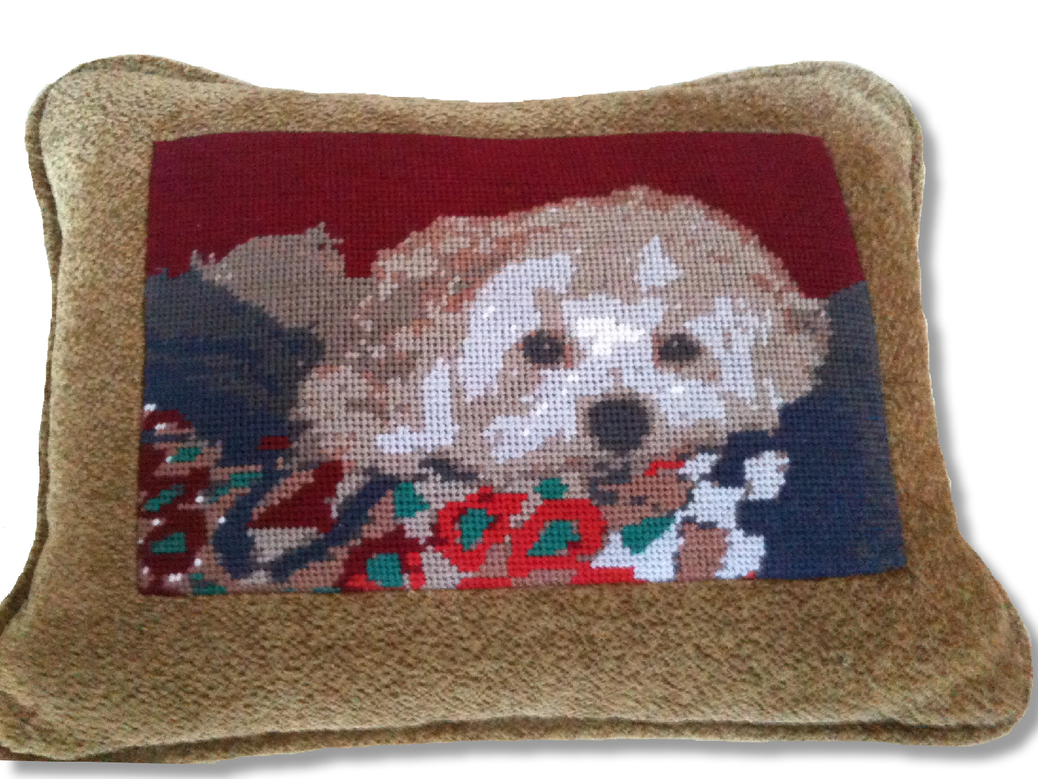 Cute Dog Needlepoint Pillow