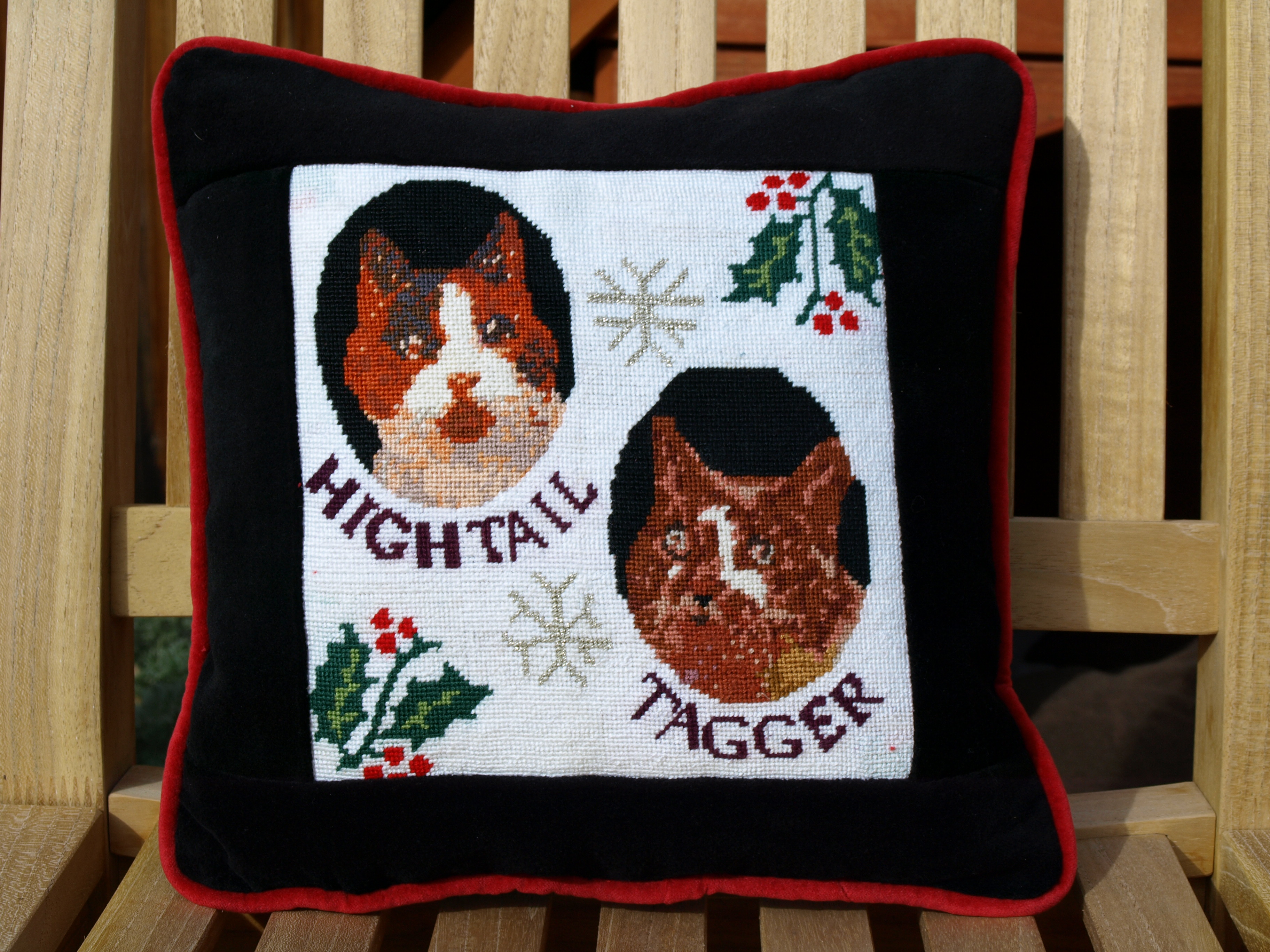 Cool Needlepoint Cat Pillow for Christms