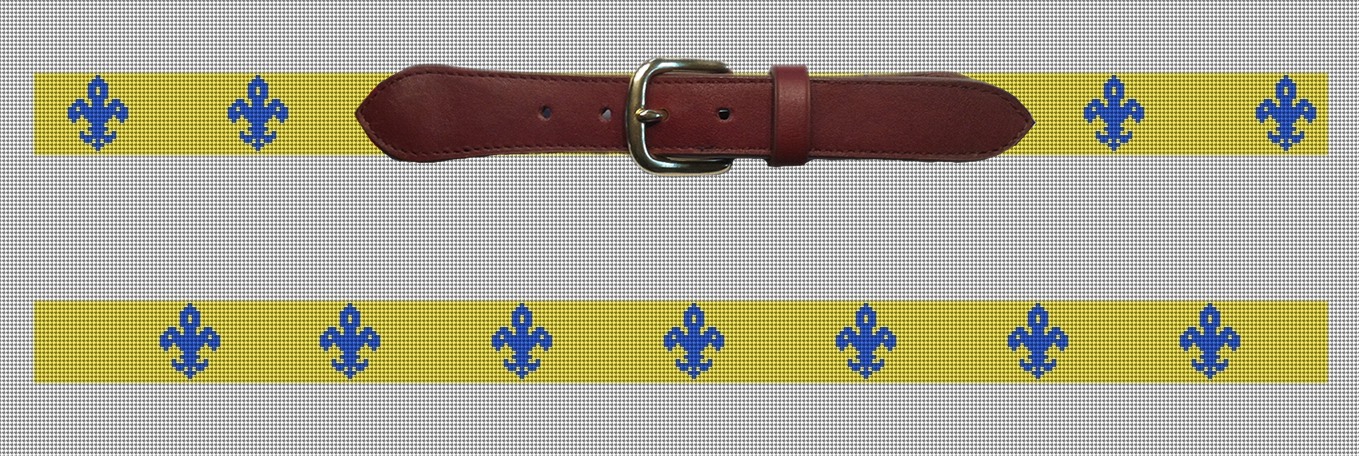Yellow and Blue Fleur De Lis Needlepoint Belt