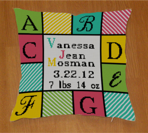 Glendale birth announcement pillow!