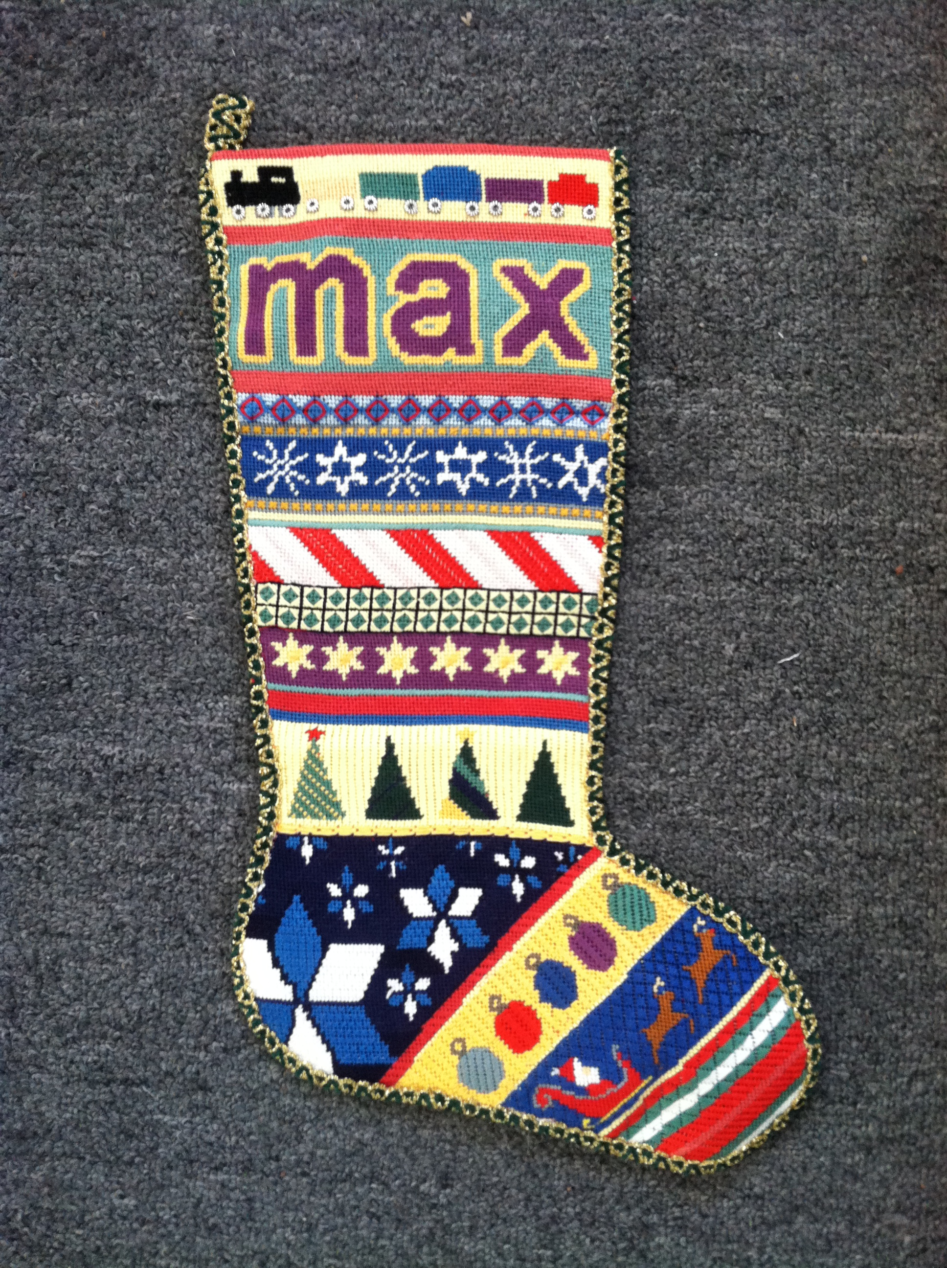 Max's Needlepoint Christmas Stocking