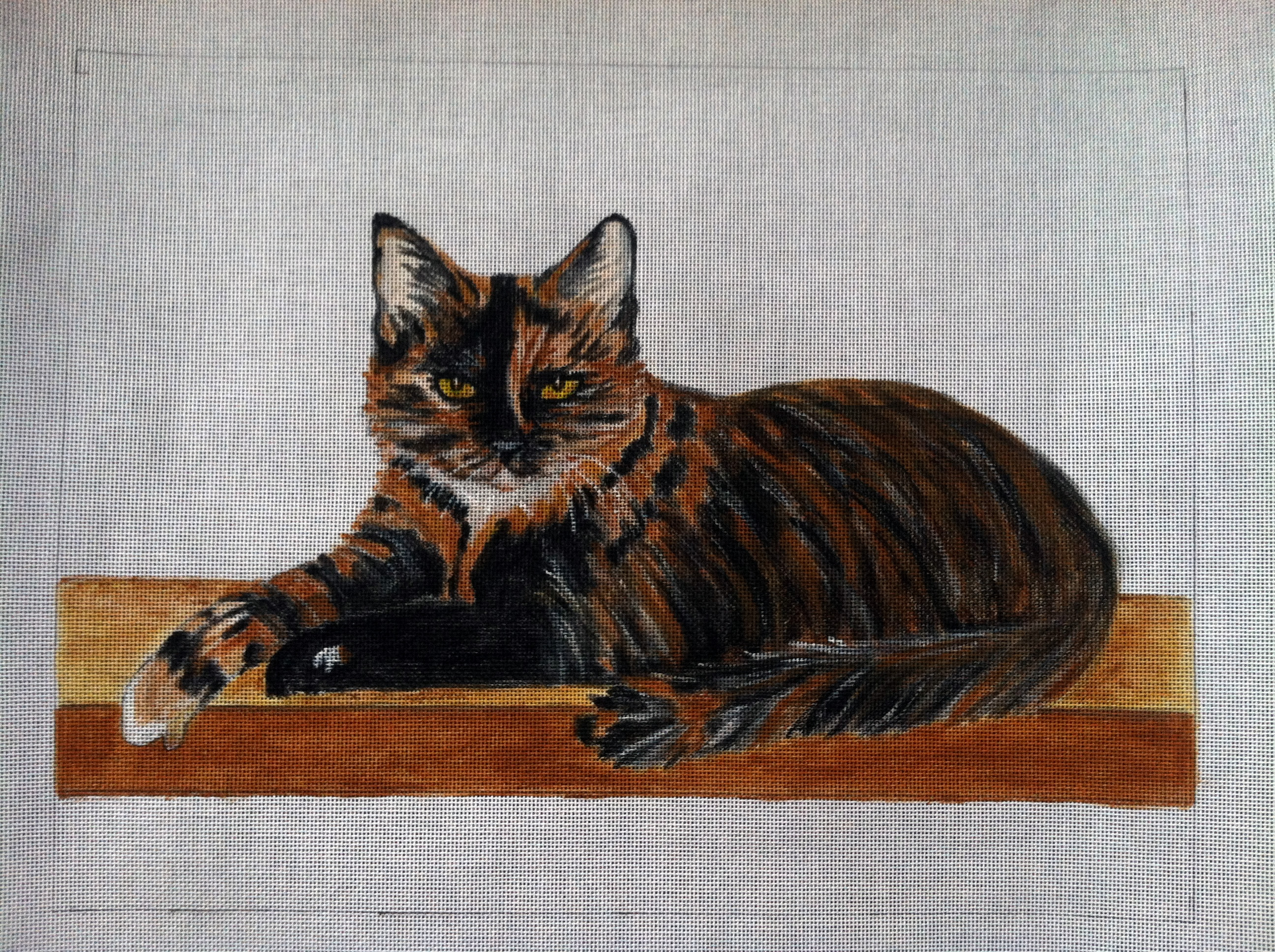 Hand Painted Needlepoint Cat on 18 mesh canvas
