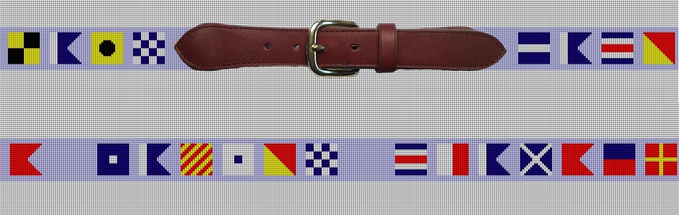 Maritime Nautical Flag Needlepoint Belt