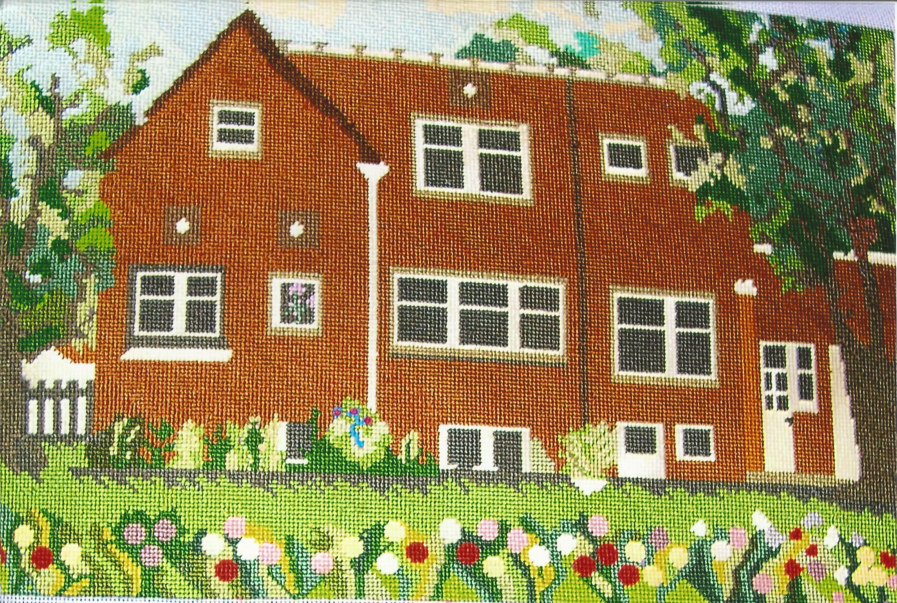 Grandma's House Needlepoint 18 x 11.7 inches on 14 mesh canvas