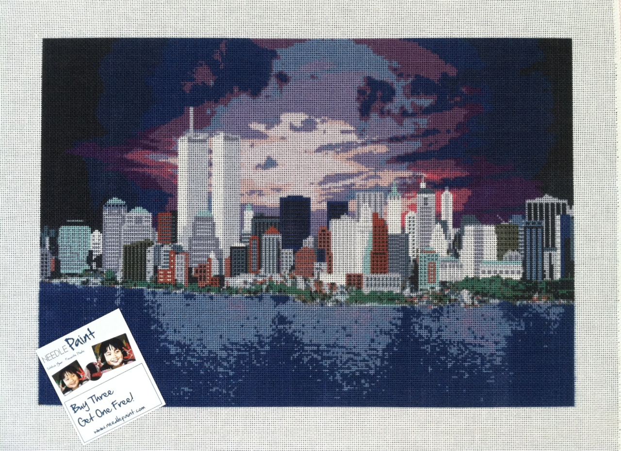 Manhattan Sunrise Needlepoint Canvas (14 mesh)