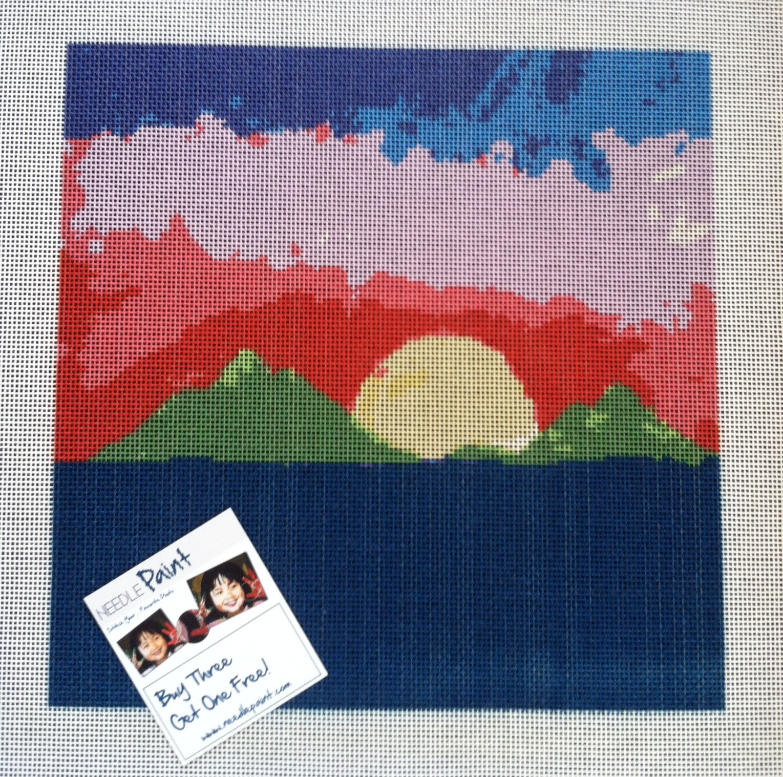 Molokai Sunrise on 10 mesh Needlepoint Canvas