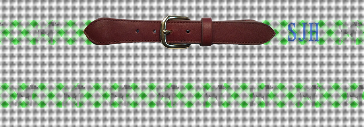 Green Gingham Dog Needlepoint Belt Preview featuring a silver Poodle!
