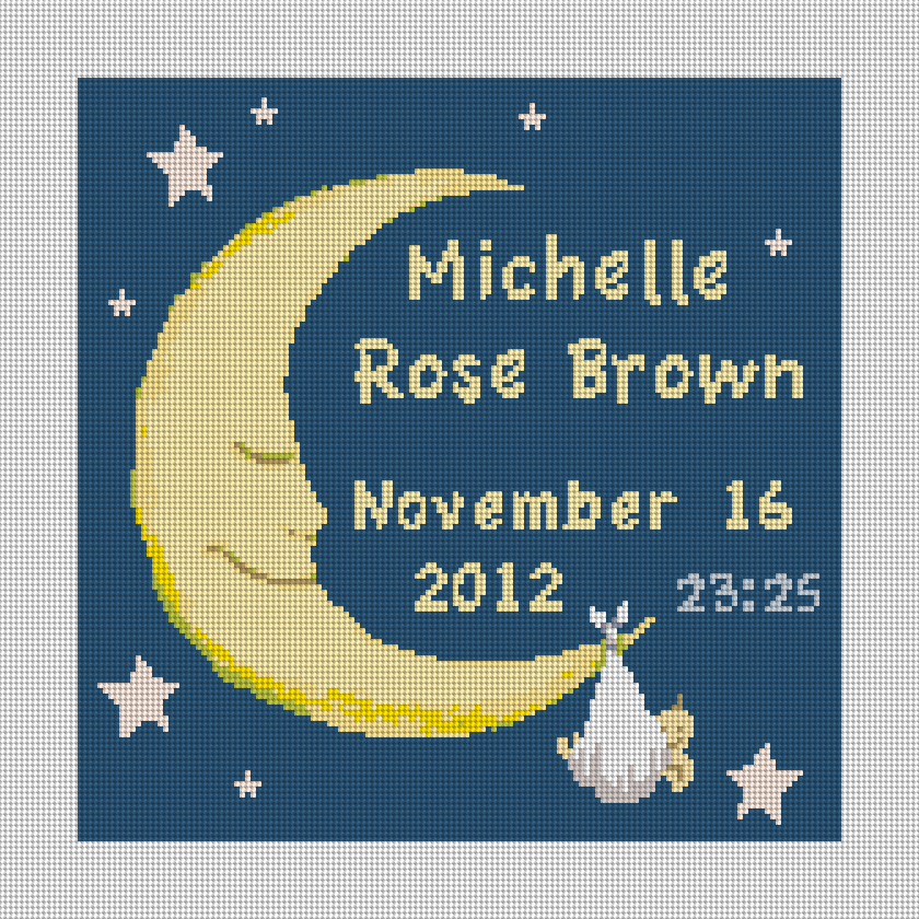 The Baby and Moon Personalized Needlepoint Canvas is 10 x 10 inches on 14 mesh canvas