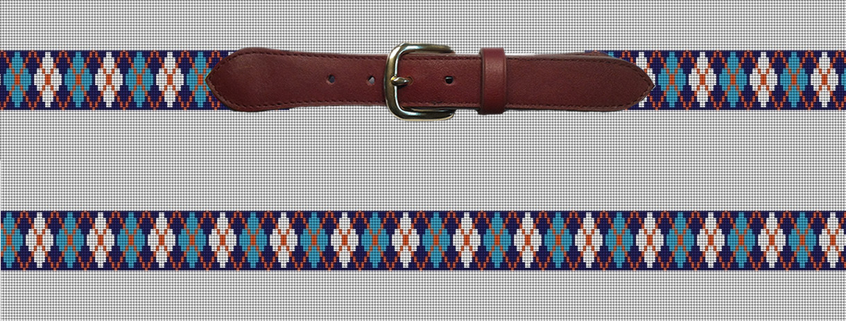 Preppy Blue Argyle Needlepoint Belt