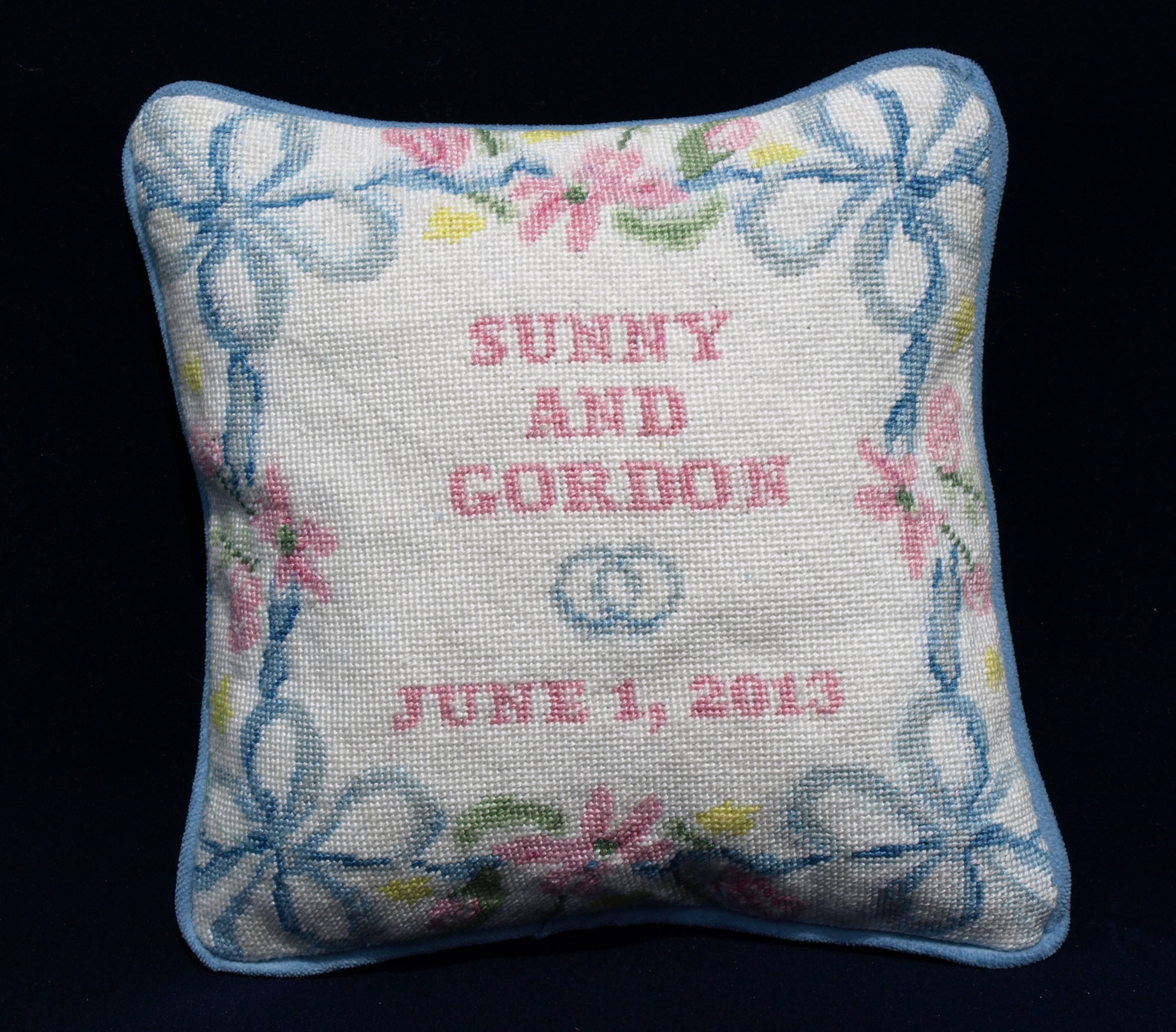 Spring Ribbon Needlepoint Ring Bearer Pillow