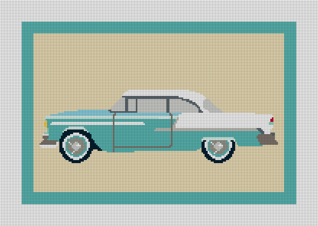 Vintage Car Retro Needlepoint Pillow Canvas 12.9 x 8.6 inch Design on 14 mesh canvas or 18 x 12 inches on 10 mesh