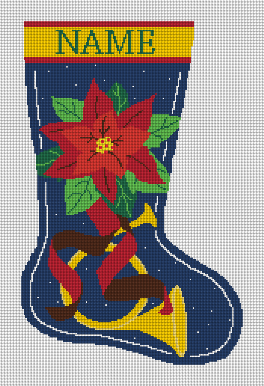 French Horn Personalized Needlepoint Christmas Stocking Canvas
