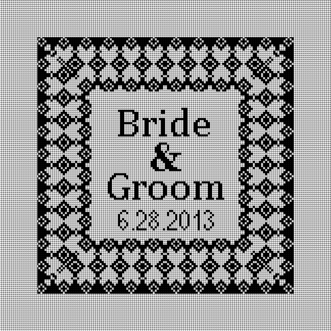 Grenelle Needlepoint Wedding Ring Pillow (Black and White)