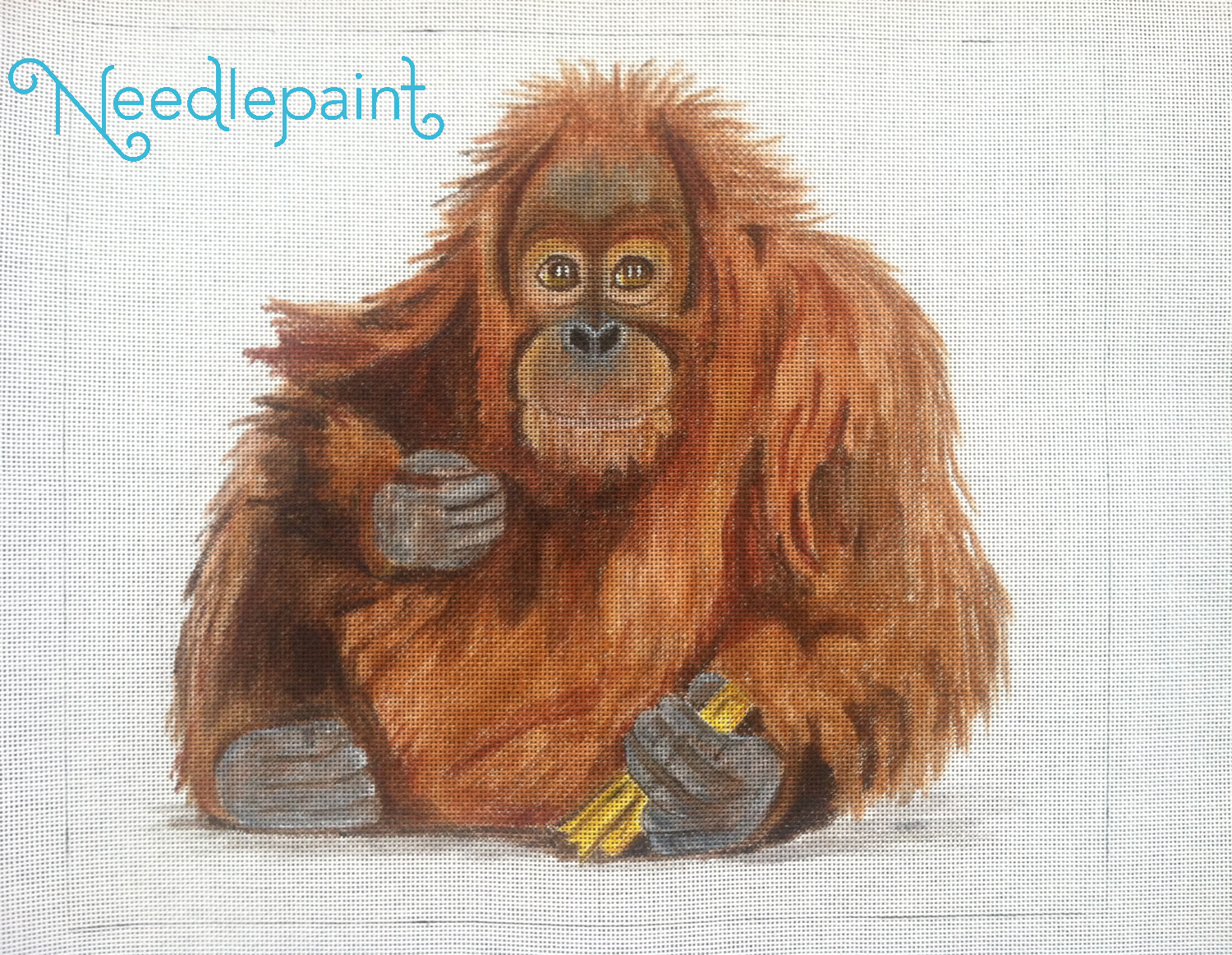 Hand Painted Orangutan Needlepoint Canvas