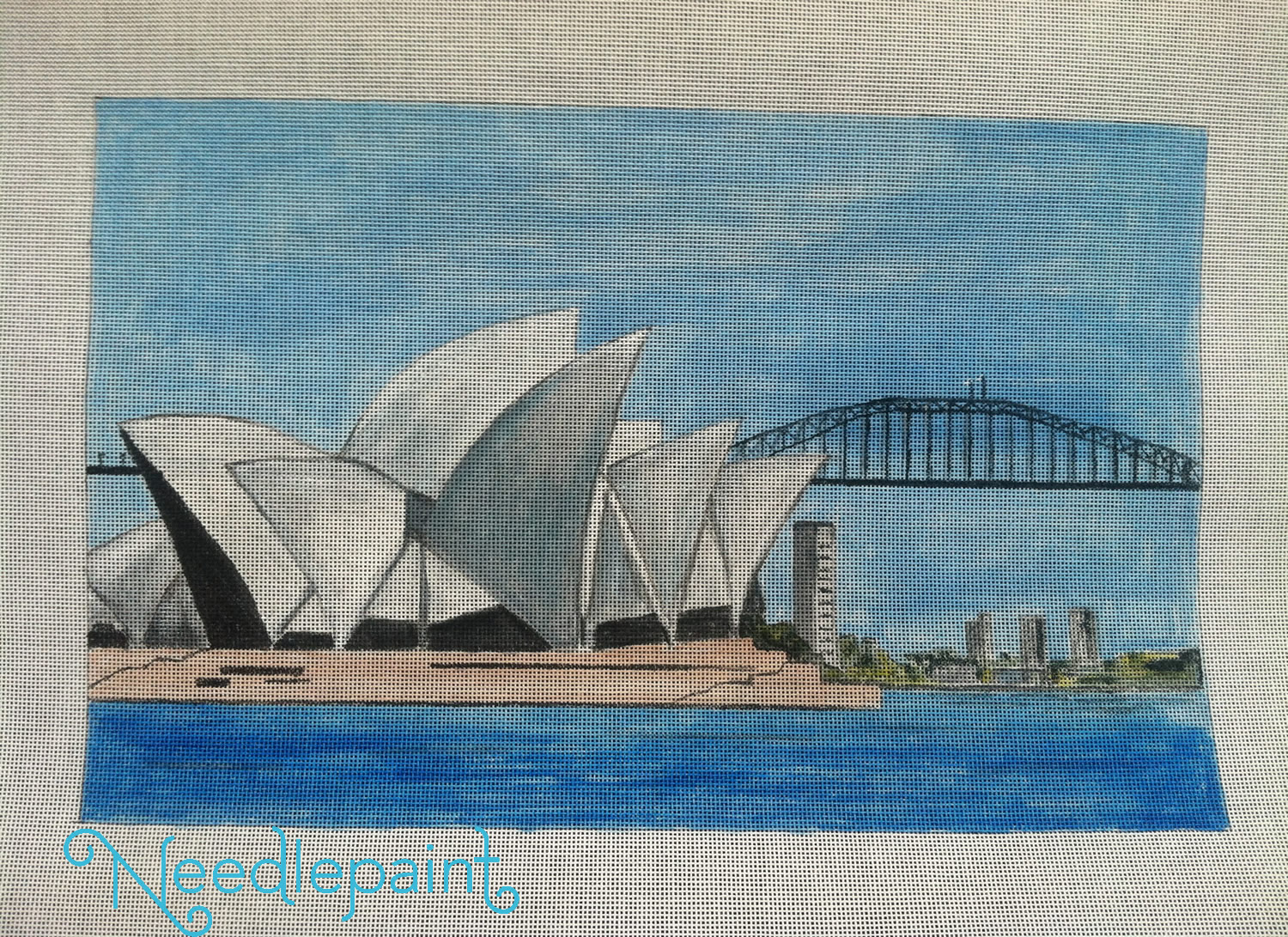Hand Painted Sydney Opera House Needlepoint Canvas