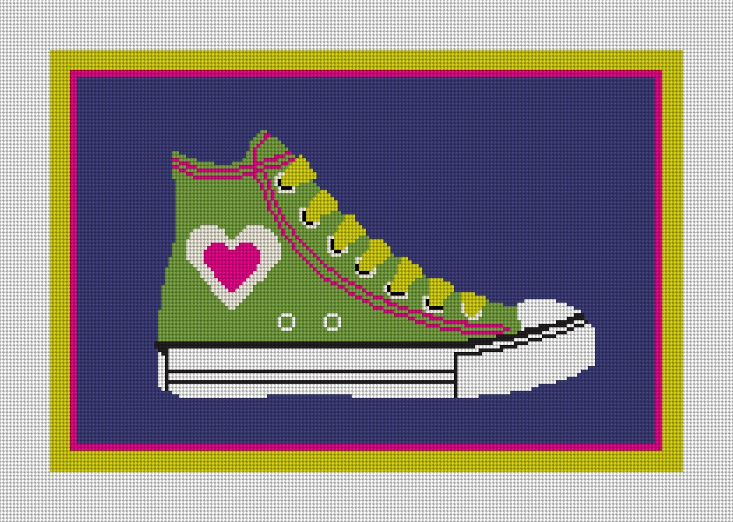 Colorful Heart Retro Shoe Needlepoint Canvas
