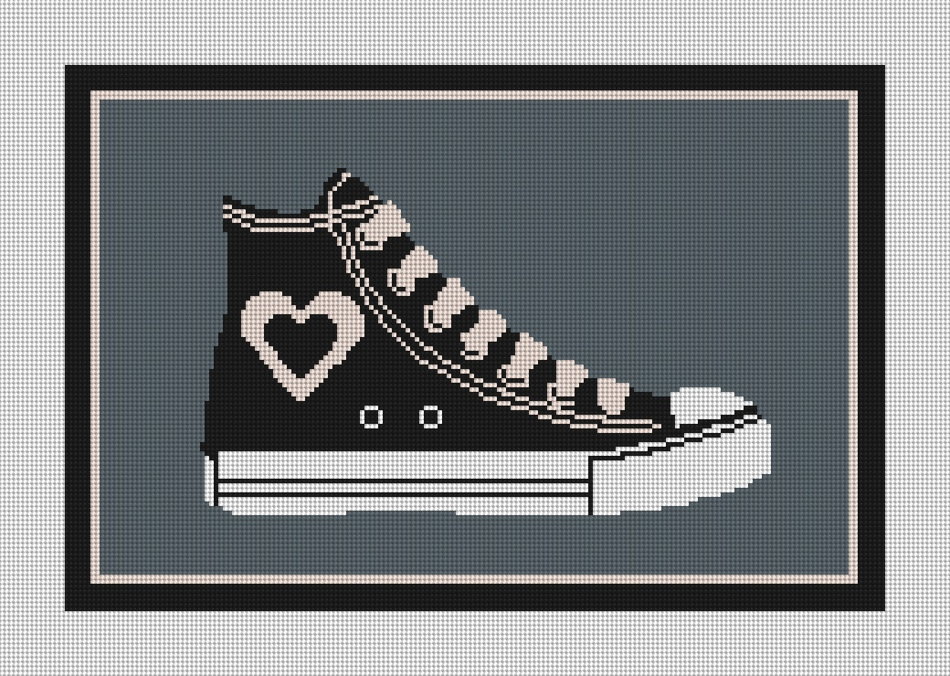Heart Retro Shoe Needlepoint Kit
