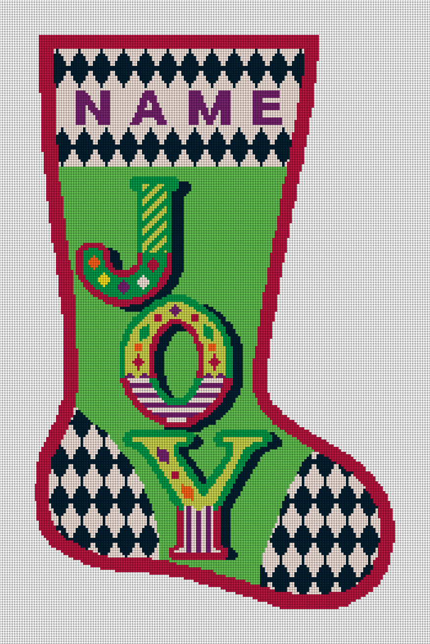 Joy Personalized Christmas Stocking Needlepoint Kit