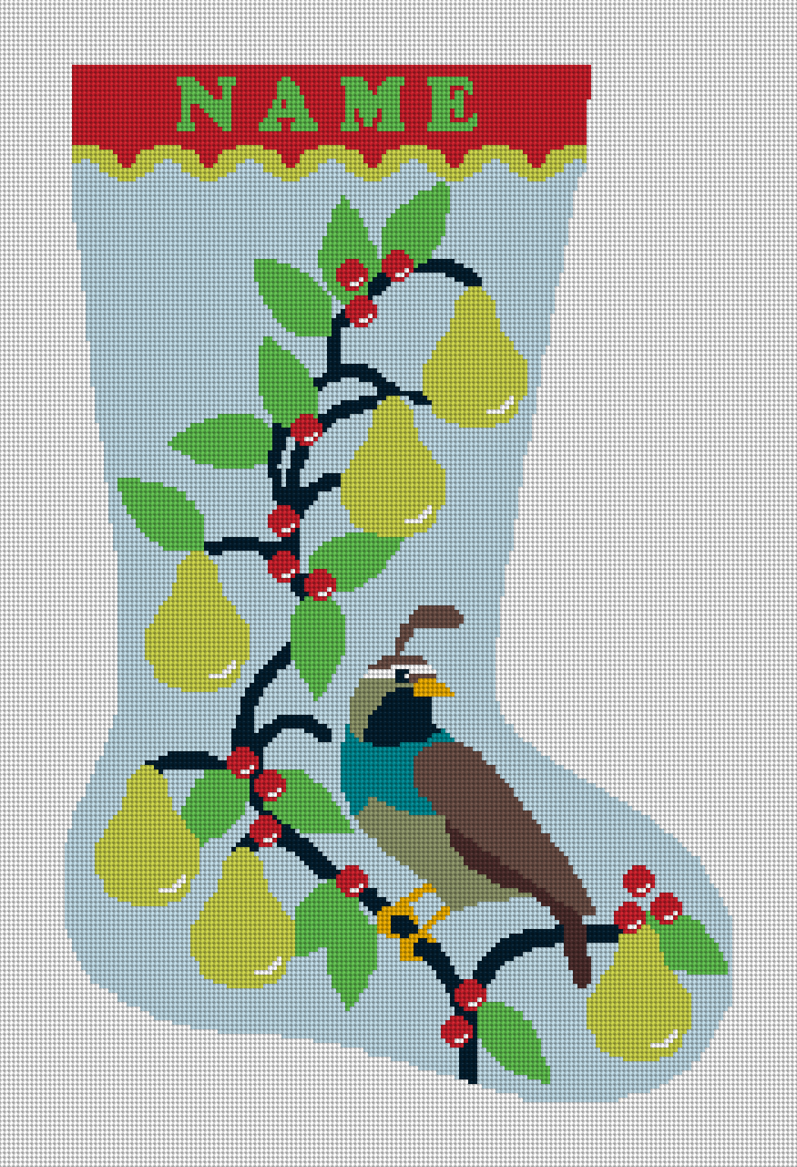 Partridge in Pear Tree Needlepoint Christmas Stocking