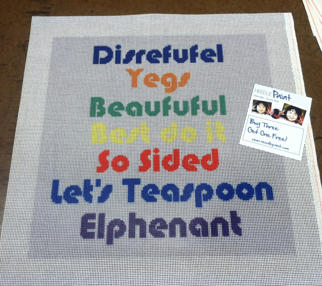 Custom Word Pillow Needlepoint Design (Bases on our Welcome Pillow Canvas)