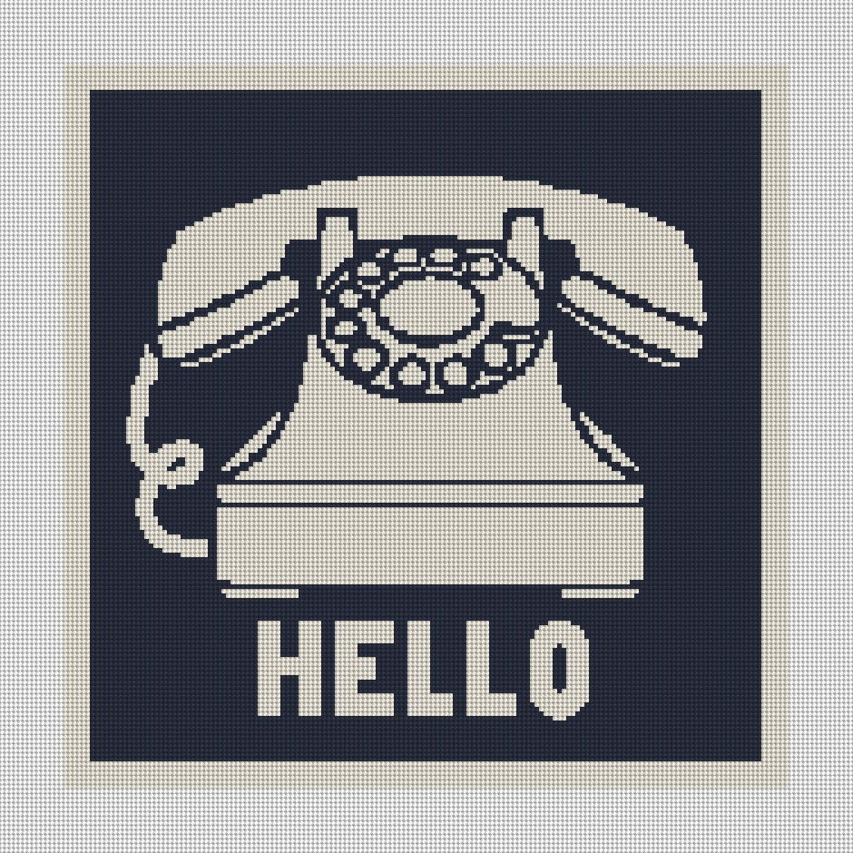 Retro Phone Needlepoint Preview - Blue