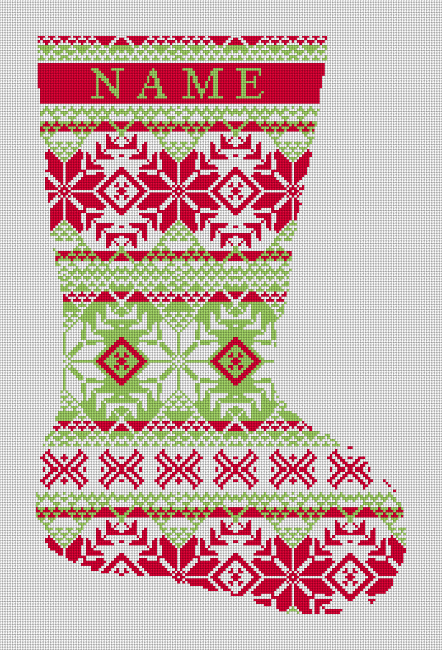 Fair Isle Needlepoint Christmas Stocking Red and Green